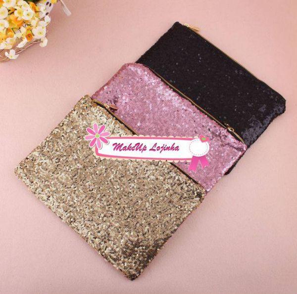 Bolsa De Mão Estilo Carteira : Bolsa de m?o carteira glitter deslumbrante makeup lojinha